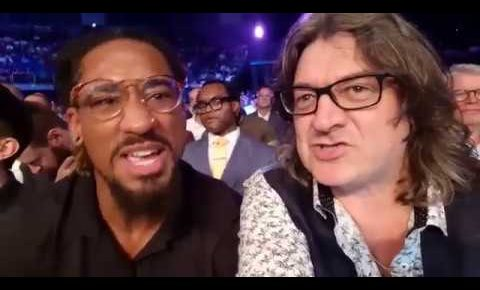 Gareth A Davies w/ Demetrius Andrade watching a Round of Boxing(Whyte vs Rivas)