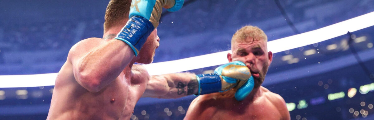Canelo stops Billy Joe Saunders to win super-middleweight fight as Brit suffers 'busted eye socket'